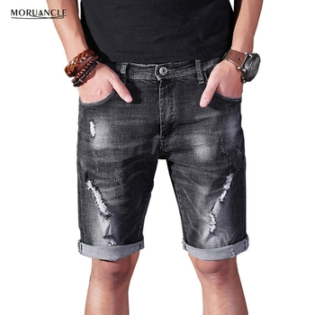 MORUANCLE New Summer Men's Ripped Denim Shorts Black Distressed Jeans Shorts For Male Washed Stretchy E0530