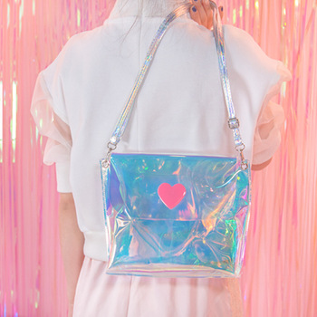 Transparent laser Holographic Messenger Bag Flap Sweet heart Clear Jelly Handbag Japanese Girls Mini Harajuku Purse