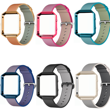 Sports Woven Nylon Watch Band + Colorful Metal Frame 2 in 1 Watch Case For Fitbit Blaze Activity Tracker Smart Watch Band