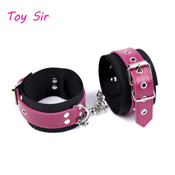 New PU Leather Handcuffs ankle cuff Restraints Costume Bondage Sex Toys For woman men sex products Costume Tools