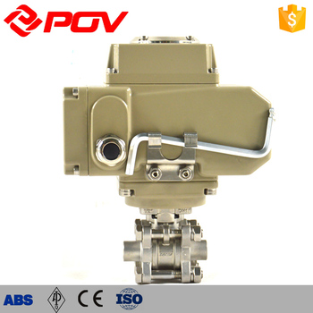 3pc threaded electric stainless steel ball valves